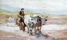 """""""Car cu boi"""" (1899) - Nicolae Grigorescu (n. 15 mai 1838, Pitaru, județul Dâmbovița, d. 21 iulie 1907, Câmpina)"""