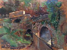 Vue impressionniste du pont d'Abermule (Pays de Galles)  Par Henri Ottevaere (Ecole belge) - Vers 1915  Signé dans l'angle inférieur gauche et annoté Abermule (Wales)