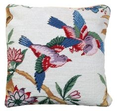 Needlepoint Love Birds Pillow