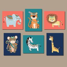 JUNGLE Nursery Wall Art, Tribal Jungle Animals, Jungle Nursery Decor Jungle Nursery Art Boy Gender Neutral Nursery Set of 6 Prints Or Canvas ★Includes 6 pieces of wall art Available in PRINTS or CANVAS (see below) ★SIZING OPTIONS Available from the drop down menu above the add to cart button with prices ★PRINT OPTION Available sizes are 5x7, 8x10, & 11x14 (inches). Prints are created digitally and printed with UltraChrome Hi-Gloss ink on professional 68lb satin luster photo paper. Prints…