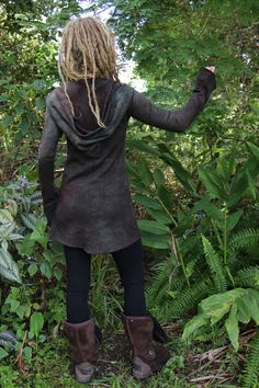 RESERVED Mini Pixie Dress Goddess Hemp Fleece Hoodie Long Belled Sleeves