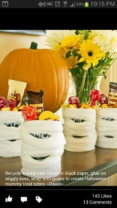 Old soup cans into Halloween decorations