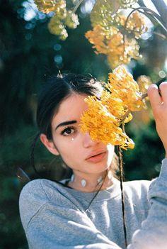 boho, flower, and girl image