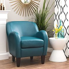 Modern Blue Turquoise Bonded Leather Upholstered Tub Chair -- Awesome products selected by Anna Churchill