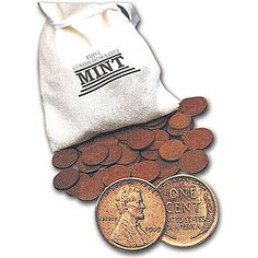a pound of wheat pennies from all six decades in which this one-cent piece was minted in a mini-money bag.
