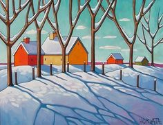 8x11 Art Print WINTER LANDSCAPE Giclee Reproduction Artwork by Artist Horvath