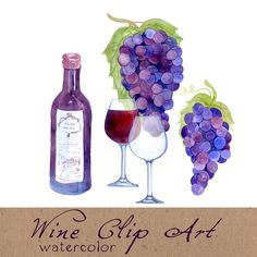 Digital Clipart Wine Clip Art Watercolor by SwiejkoForPrint