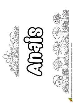 Joliment présenté, le prénom Anais est à colorier
