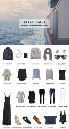 What to Pack for a 11 Day Alaskan Cruise, including formalwear and clothing to explore in. All fits in a carryon! What to Pack for a 11 Day Alaskan Cruise, including formalwear and clothing to explore in. All fits in a carryon! Travel Wardrobe, Capsule Wardrobe, Travel Outfits, Travel Wear, Wardrobe Staples, Alaskan Cruise, Alaskan Honeymoon, Alaska Travel, Alaska Trip