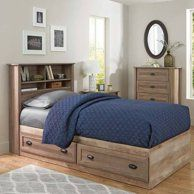 Better Homes And Gardens Crossmill Mates Twin Bed With Storage Weathered Finish Walmart Com Bookcase Headboard Platform Bed With Storage Home