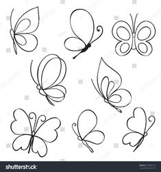 Find Set Hand Drawn Butterflies stock images in HD and millions of other royalty-free stock photos, illustrations and vectors in the Shutterstock collection. Butterfly Drawing, Butterfly Wallpaper, Hand Embroidery Videos, Embroidery Stitches, Cute Tattoos, Unique Tattoos, Cake Decorating Piping, Bullet Journal Writing, Cake Decorating Techniques