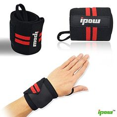 Ipow Adjustable Weight Lifting Training Wrist Straps Support Braces Wraps Belt Protector for Weightlifting Crossfit Powerlifting Bodybuilding - For Women and Menset of 2