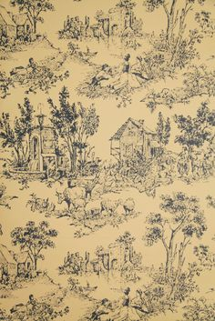"""Vintage Wallpaper - """"Fauborg Toile"""" by Thomas Strahan   eBay - another pin on the board """"Strahan"""" by pinner Jonathan Strahan. Check it out!!"""
