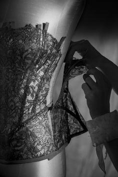 Crafting the Luminessence bustier, a bodice in Leavers lace and tulle embellished with glimmering thread.
