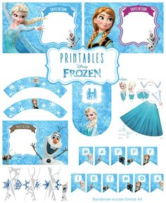 kit-anniversaire-reine-des-neiges-printables-frozen Elsa Birthday Party, Disney Frozen Birthday, Frozen Disney, Anna Und Elsa, Frozen Theme Party, Party Invitations Kids, Party Kit, Princesas Disney, Party Themes