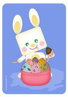 Sweet Easter Bunny, eating Chocolate eggs