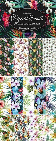 Tropical patterns bundle. Watercolor by Lembrik's Artworks #patterns #floral #designtool
