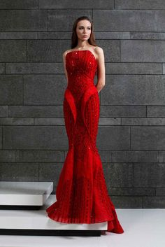 Strapless Red evening gown made of Lace and embroidered Tulle.  Fall Winter 2014/15   Tony Ward