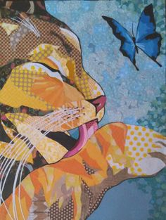 "Cut paper collage art,  by Laura Yager - ""Fastidious"" - SOLD Awarded Honorable Mention in CAGO's international online competition 2015- yellow cat & butterfly art, cat artwork, animal portraits art, cut paper art"