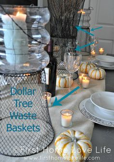 #Fall Table Setting Ideas for CHEAP!  Could use wire baskets like glass cothes.