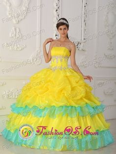 25530c0386b Custom Tailoring Ruched Appliqued Bodice Canary Yellow Layers Skirt With  Blue Quinceanera Dress.Sexy Prom Dresses