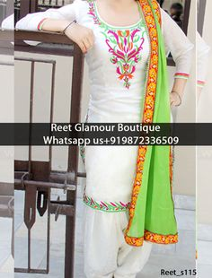 Give yourself a stylish & punjabi look with this Tempting White And Lime Green Punjabi Embroidered Suit. Embellished with lace work. Available with matching bottom & dupatta. It will make you noticable in special gathering. For more details Whatsapp us on Designer Suits Online, Designer Punjabi Suits, Indian Designer Wear, Phulkari Punjabi Suits, Patiala Salwar Suits, Patiala Dress, Punjabi Dress, Suits For Women, Clothes For Women