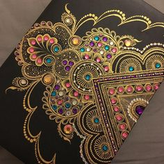 Just received this swap gift in the post from and I can not get over how stunning it is! Always loved her work but it's awe… Henna Canvas, Henna Art, Dot Art Painting, Mandala Painting, Rangoli Designs, Mehndi Designs, Tattoo Designs, Mandala Dots, Henna Mandala