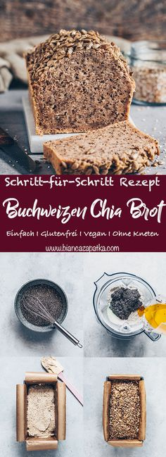 This best no-knead buckwheat chia bread recipe is gluten-free, yeast-free, egg-free, healthy, delicious and super quick and easy to make with Easy Bread Recipes, Vegan Recipes, Buckwheat Recipes, Knead Bread Recipe, Pan Sin Gluten, Nutritional Yeast Recipes, Fruit Jam, Vegan Bread, Healthy Eating Tips
