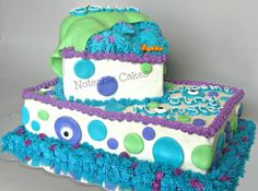 *Monster's Inc inspired baby shower cake. I was given a pic of a cake from customer asking to do something similar. Baby Shower Cakes Neutral, Baby Shower Deco, Baby Shower Cakes For Boys, Baby Shower Themes, Baby Boy Shower, Shower Ideas, Monsters Inc Baby Shower, Monster Baby Showers, Monster Inc Birthday