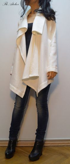 White Asymmetric Coat / Loose Extravagant Cardigan/ by FloAtelier