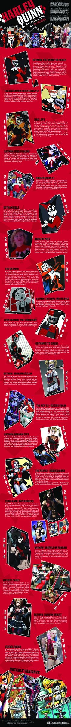 Since her creation in the 1992 Batman Animated Series, Harley Quinn has been a fan favourite and one that has since endured in the various incarnations of Batman. Check out this cool infographic outlining her crazy evolution. Harley Quinn Et Le Joker, Arley Queen, Es Der Clown, Harely Quinn, Prince Charmant, Univers Dc, Im Batman, Batman Arkham, Batman Stuff
