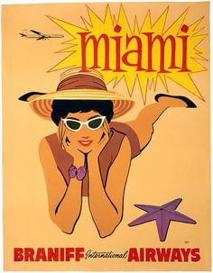 This vintage Miami travel poster was in circulation circa 1960. Miami - Braniff International Airways.