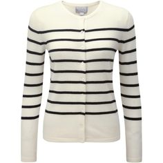 Pure Collection Athena Striped Cashmere Cardigan, Soft White/Black (135 CHF) via Polyvore featuring tops, cardigans, short-sleeve cardigan, patterned cardigans, striped top, black and white striped top and long sleeve cardigan