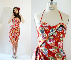 Robe pin-up Rockabilly Imprimé mexicain par OceanfrontBoutique