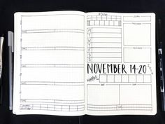 Bullet Journal Weekly Spread: November 14-20, 2016. Planner inspiration, templates, printables and more at bulleteverything.com!