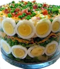 Seven Layer Salad - Delicious And Different Easter Dinner Recipes To Try - Livingly Easter Recipes, Holiday Recipes, Recipes Dinner, Easter Food, Easter Brunch, Easter Salad, Easter Table, Easter Dinner Ideas, Spring Recipes