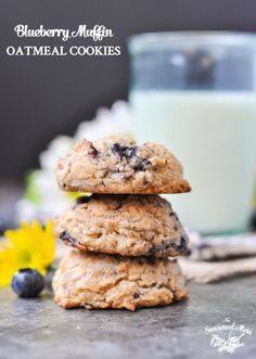 These thick, soft, and chewy Blueberry Muffin Oatmeal Cookies are a delicious option for breakfast, snack, or even dessert!