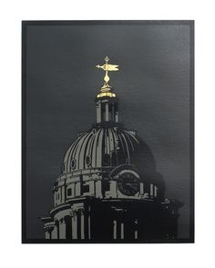 """""""Old Royal Naval College, Greenwich"""" linocut by Graham Spice. http://spicelinoprints.co.uk/ Tags: Linocut, Cut, Print, Linoleum, Lino, Carving, Block, Woodcut, Helen Elstone, Building, Dome, Architecture, Classical, Christopher Wren."""