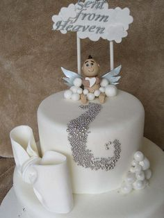 heaven sent baby shower ideas | Sent From Heaven Baby Shower Cake | Flickr - Photo Sharing!