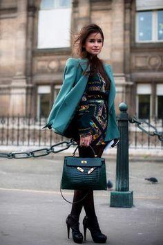 Miroslava Duma in turquoise