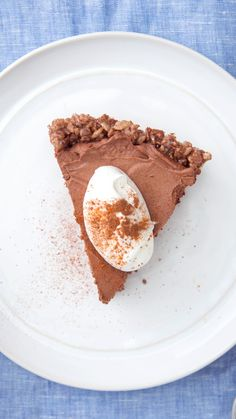 With a crunchy cocoa marshmallow treat crust and just a hint of spice, this no-bake chocolate pie hits the spot.