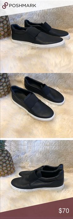 f813659ad1d0 Vince Sneakers Exposed elastic strap secures the top line on these pebbled  leather Vince slip on