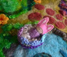 Baby Bunny In A Cradle - Sleepy Baby Bunny- Waldorf Peg Bunny Toy