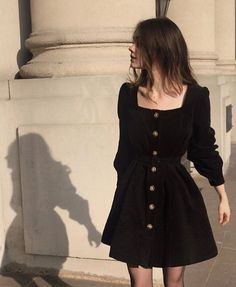 The Black Corduroy Belted Dress as seen on constance d Cute Casual Outfits, Pretty Outfits, Pretty Dresses, Super Cute Dresses, Stylish Outfits, Look Fashion, Korean Fashion, Fashion Jobs, 90s Fashion Grunge