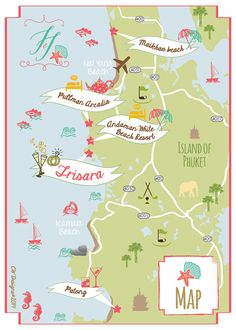 Phuket Thailand Wedding Map by cwdesigns2010 on Etsy $255 cws-designs.com