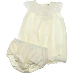 Dior Baby Girls Cream Silk Frill Neck Dress Knickers Set