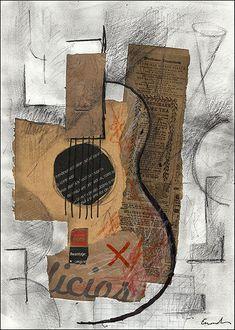 FINE ART PRINT Guitar Music -  Mixed media collage By Mirel E.Ologeanu. $6.91, via Etsy.