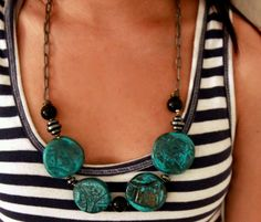 Hand crafted polimer clay medallion necklace