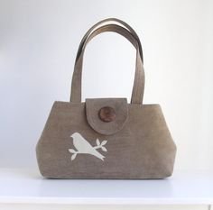 Corduroy Jewel Cut  Bag  Bird Applique  Khaki
