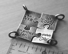 custom order: puzzle pendants or keychains (4 separate sterling silver jigsaw puzzle pieces)